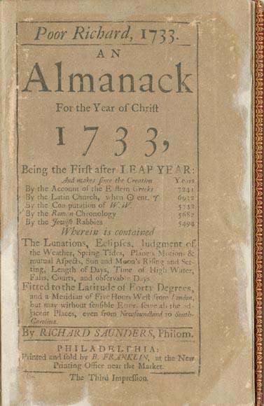 Benjamin Franklin Poor Richard 1733 Almanack For The Year Of Christ