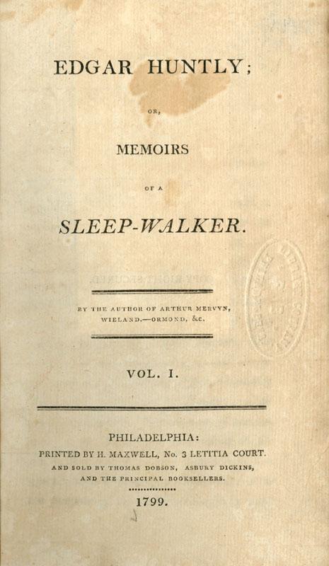 Edgar Huntly Or Memoirs Of A Sleep Walker
