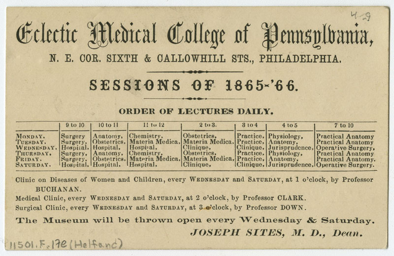 eclectic medical college of pennsylvania sessions of 1865 66 philadelphia