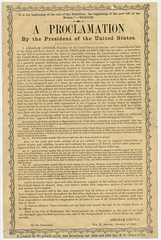 an introduction to the emancipation proclamation Emancipation proclamation on september 22, 1862, abraham lincoln, president of the united states, issued the first, or preliminary, emancipation proclamation.