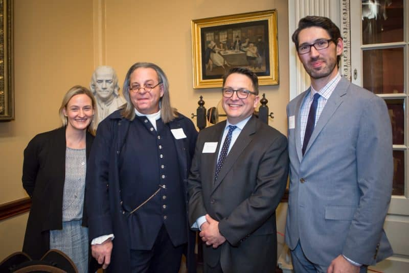 Left to Right: Asha Curren, 92nd Y Chief Innovation Officer ; Dr. Benjamin Franklin; Dr. Michael J. Barsanti, Library Company Edwin Wolf 2nd Director; Andrew Nurkin, Free Library of Philadelphia, Deputy Director of Enrichment and Civic Engagement. (Photo Credit: Steve Weinik)