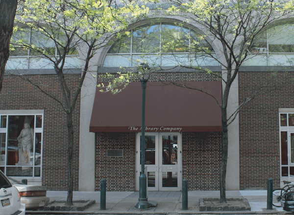 The front facade of The Library Company of Philadelphia at 1314 Locust Street, Philadelphia, PA.