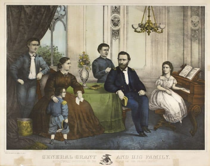 "Augustus L. Weise. General Grant and His Family (Philadelphia: Joseph Hoover, 1866). Hand-colored lithograph. Purchased with funds from the Davida T. Deutsch Women's History Fund.Currently on display at the entrance to the Reading Room is a small exhibition entitled ""'And His Family': Prints Depicting Famous Men at Home."""