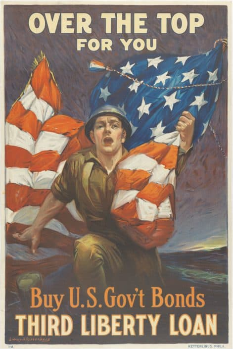 Sidney H. Riesenberg, Over the Top for You, (United States, ca. 1918). Color lithograph.