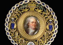 Jean Baptiste Weyler. Benjamin Franklin Portrait Miniature. Paris, ca. 1785. Gold, enamel. Purchase, 2013.