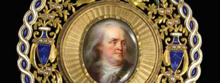 Jean Baptiste Weyler. Benjamin Franklin Portrait Miniature. Paris, ca. 1785. Gold, enamel. Purchase, 2013.