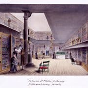 Benjamin Ridgway Evans, Interior of Phila. Library, Fifth and Library Streets, 1878. (Philadelphia, 1878). Watercolor.