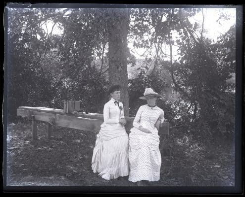 Alice Shipley & Bessie in woods near overflow, [Sea Girt, NJ] [graphic].
