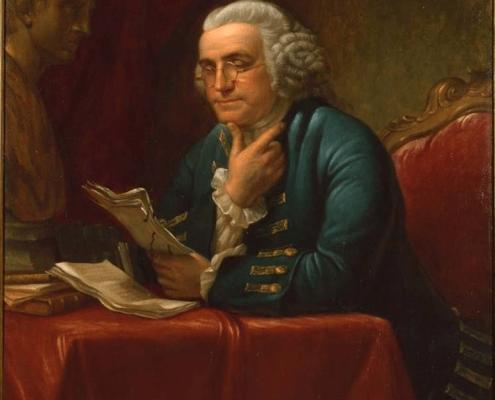 Lambdin, James Reid. Benjamin Franklin. (ca. 1880). Oil on canvas ; 50 x 40 inches ; Framed: 57 x 47 1/4 x (2 1/4+1 3/4)4 inches. http://digital.librarycompany.org/islandora/object/digitool%3A59324