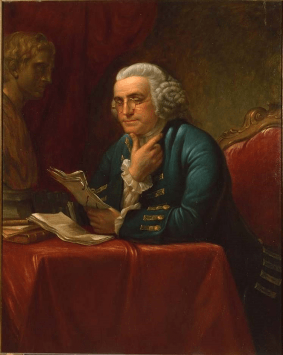 Lambdin, James Reid. Benjamin Franklin. (ca. 1880). Oil on canvas ; 50 x 40 inches ; Framed: 57 x 47 1/4 x (2 1/4+1 3/4)4 inches. http://digital.librarycompany.org/islandora/object/digitool%3A59324