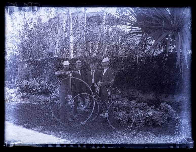 Bicycle group in Public Garden, St. George's. A. H. Bull, S. Harry Sargeant, E. Eugene Sargeant & Dr. Buddington. [Bermuda] [graphic].