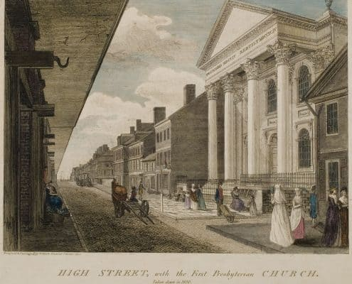 """High Street, with the First Presbyterian Church. Philadelphia 1800 William Birch's """"Views of Philadelphia"""" The Woman in White can be seen in the lower right corner"""