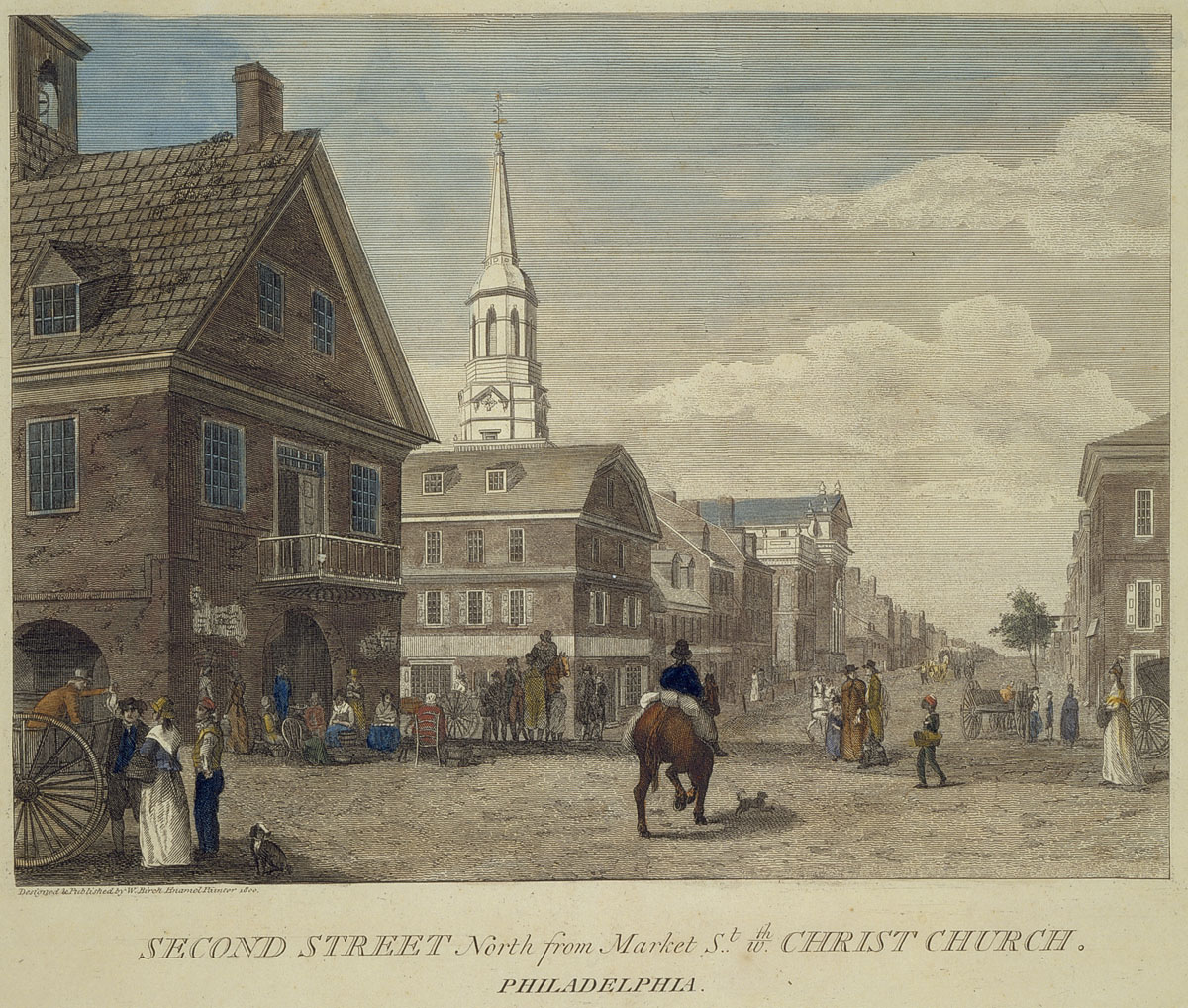Second Street north from Market St. wth. Christ Church. Philadelphia [graphic] / Designed & Published by W. Birch Enamel Painter 1800.