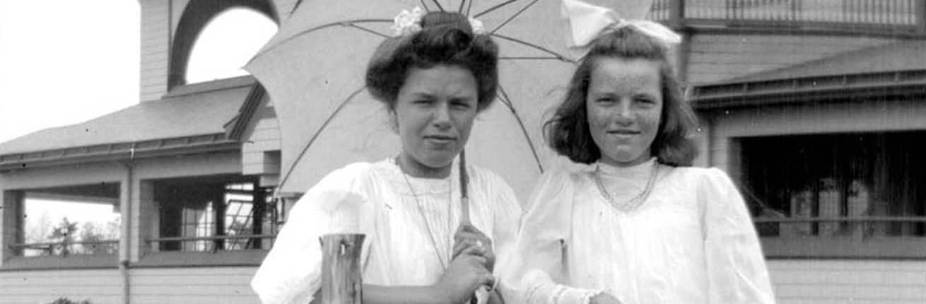 Two women by rustic fence, Sea Girt (Summer 1907). Morris, Marriott Canby, 1863-1948, photographer. Film negative; 3 x 4.5 in.