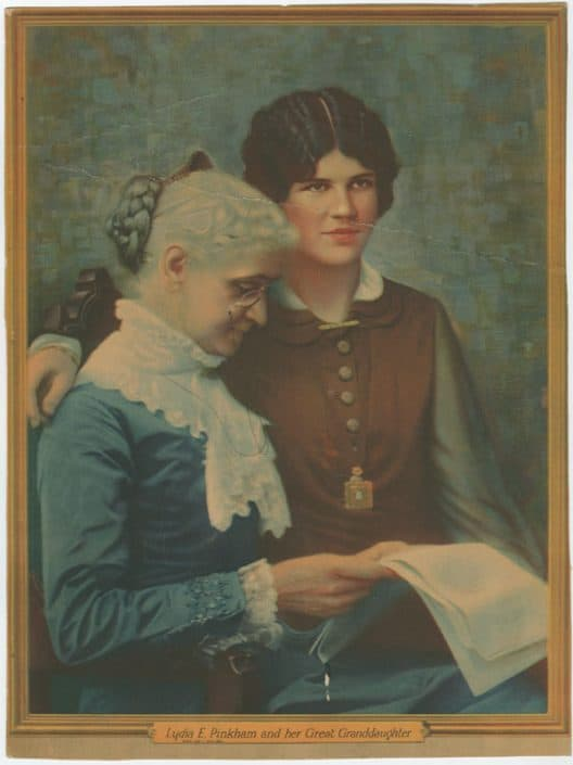 Lydia E. Pinkham and Her Great Granddaughter. Display card from the William Helfand Popular Medicine Ephemera Collection.