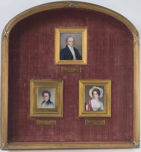 Jacob Ridgway (1768-1843); Phoebe Anne Ridgway Rush (1799-1857); James Rush (1786-1869), 1829. Watercolor on ivory. Anna Claypoole Peale (1791-1878). Bequest of Dr. James Rush, 1869.