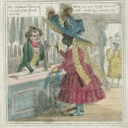 """Edward Williams Clay, Life in Philadelphia. """"Have you any flesh coloured silk stockings...?"""" ([Philadelphia: Sarah Hart?, ca.1830]). Plate XI. Hand-colored etching."""