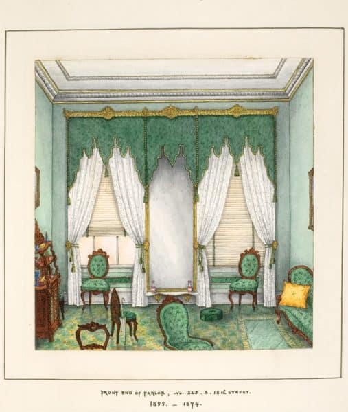 """Front end of Parlor, No. 325 S. 18th Street, 1855-1874. Watercolor by G. Albert Lewis in Anne Lewis album, """"Memories of the Homes of Grandma Lewis."""""""