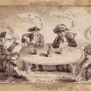 "Ink and wash drawing depicting four men smoking with dialogue: ""Choice Tobacco,"" ""Yes Excellent,"" ""Who Made It,"" ""Isaac Jones."" [Isaac Jones, Tobacconist] (Philadelphia, ca. 1780). Ink and wash drawing."