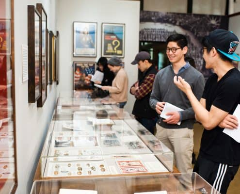 Visitors in the Louis Lux-Sions and Harry Sions Gallery at the Library Company of Philadelphia.