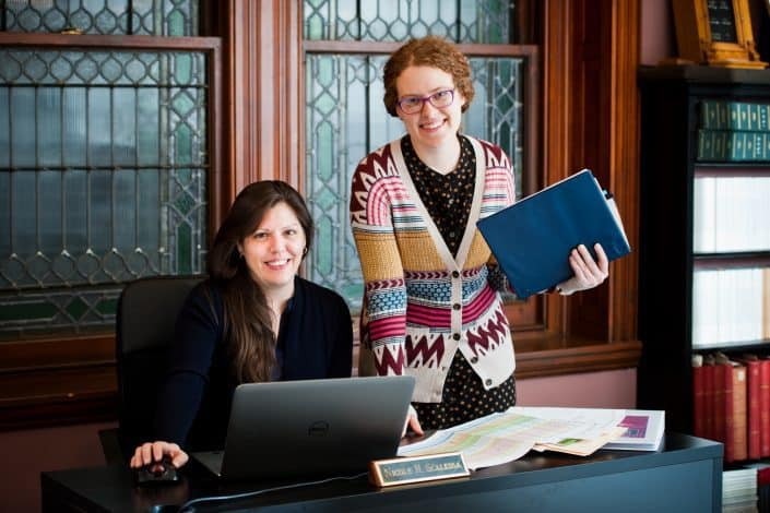 Nicole H. Scalessa, IT Manager & Digital Humanities Coordinator with Ann McShane, Digital Collections Manager.