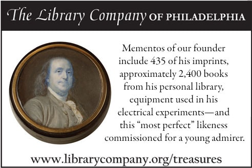 """Mementos of our founder include 435 of his imprints, aproximately 2,400 books from his personal library, equipment used in his electrical experiments- and this """"most perfect"""" likeness commissioned for a young admirer."""