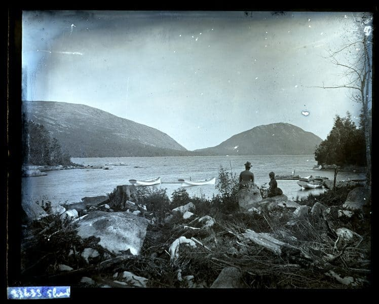 Sargent Mt. & another Mountain from end of Eagle Lake. Hannah Rhoads & Anna Tatnall in foregr[oun]d. [Mount Desert Island, ME] [graphic].
