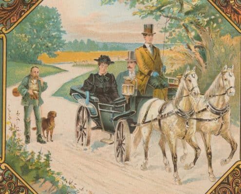 The central vignette showing a chauffeured carriage on a dirt road transporting a wealthy couple past an indigent man, presumably a victim of the Panic of 1893, epitomizes this sentiment.