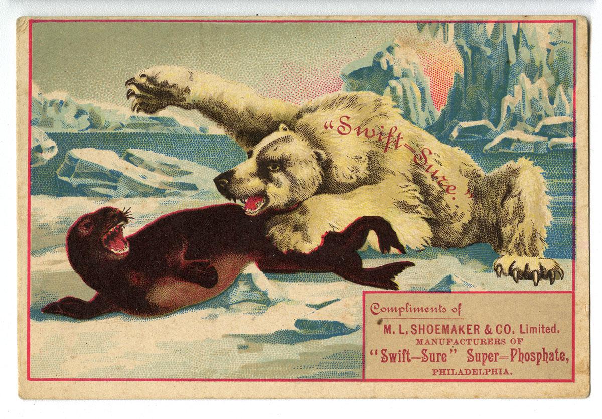 "M. L. Shoemaker & Co., ""Swift-Sure"" Super-Phosphate, Venango St. and Delaware Ave., Philadelphia (Philadelphia, ca. 1880)."