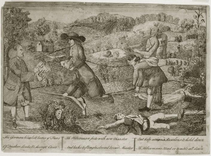 Claypoole, James.The German Bleeds & Bears ye Furs Of Quaker Lords & Savage Curs ...(Philadelphia, 1764).