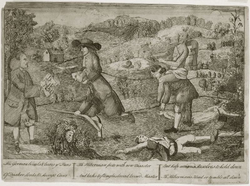 Claypoole, James. The German Bleeds & Bears ye Furs Of Quaker Lords & Savage Curs ... (Philadelphia, 1764).