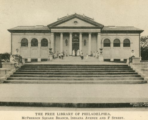 Fig. 3. William H. Rau, The Free Library of Philadelphia, McPherson Square Branch, Indiana Avenue and F Street, (Brooklyn, N.Y.: Albertype Co., 1917). Postcard. Library Company Postcard Collection.