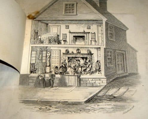 Lithograph of Birthplace of Benjamin Franklin, in Milk St., Boston, Jan. 6. 1705-6. O.S. as reproduced at the Fair of The Boston Young Men's Christian Association, Decr. 25 1858. J.H. Buffords lith., 1858.