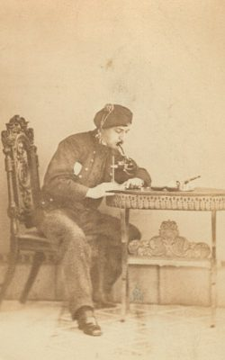 Still displaying his fondness for costumes and props, Persifor sat for a cdv in the late 1860s while in Freiburg, Germany studying mineralogy.