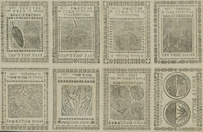 Undivided sheet of Continental Currency, printed on blue paper for use as a counterfeit detector (Philadelphia: Printed by Hall and Sellers, 1776).