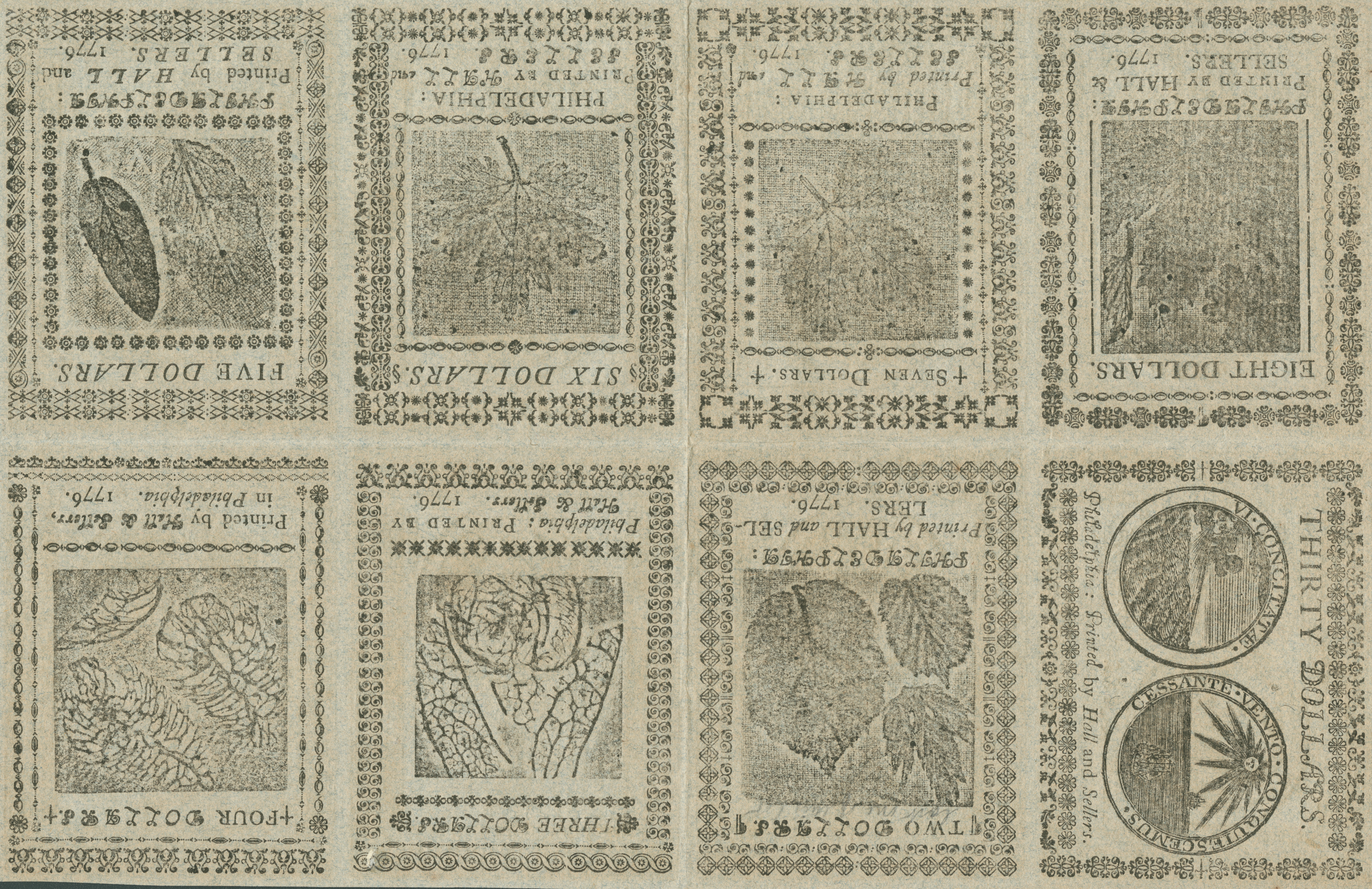 Undivided sheet of Continental Currency, printed on blue paper for use as a counterfeit detector (Philadelphia: Printed by Hall and Sellers, 1776) Franklin's leaf cuts were used on money right up through the Revolution.