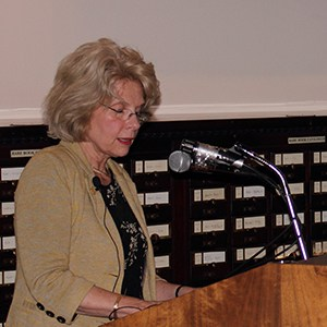 Carol Soltis at the podium during Event, James Peale Lecture with Carol Soltis
