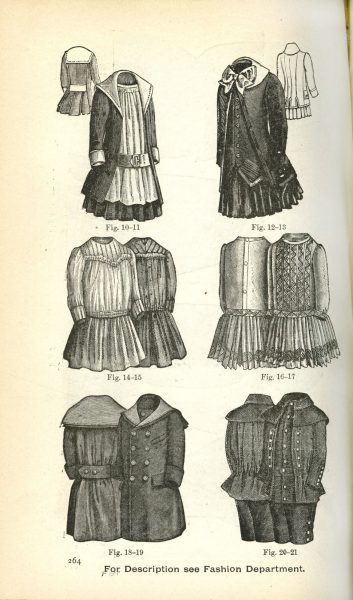 A page from July-December, 1889 issue of Godey's Ladies Book featuring children's fashion.