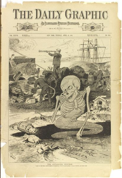 """The Advancing Scourge,"" from The Daily Graphic, April 28, 1885. Photomechanical print."