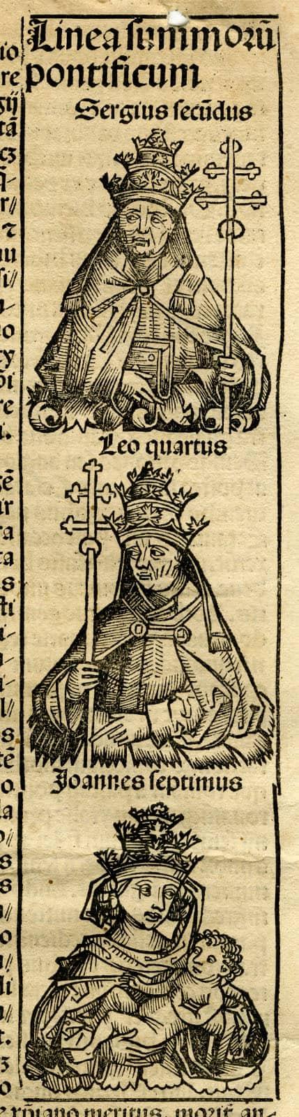 Sergius Secundus, Leo Quartus, and Joannes Septimus (Pope Joan)