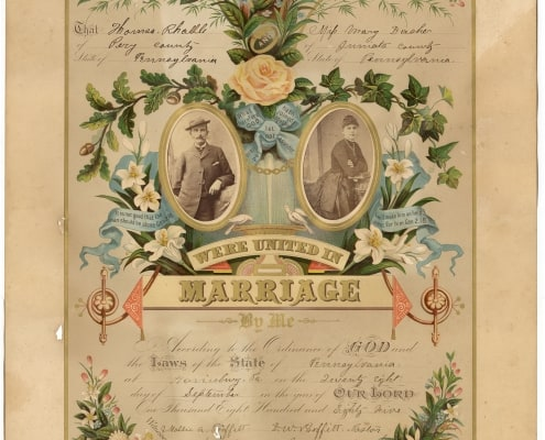 "Printed in color and selling for a dollar wholesale, the ""orange blossom"" certificate was the preference of the about twenty-five-year-old Thomas Radle (b. 1861) and teen-aged Mary Dasher (b. ca. 1867-1894). Containing their portrait photographs, the certificate documents that D.W. Proffitt (1841-1913) of the United Memorial Brethren Church married the couple in September 1885 in Pittsburgh. Thomas appears in a suit, derby hat, and with a cigarette in his mouth. Mary wears a long-sleeve, dark-colored dress with a bustle. Although used in a marriage certificate, and especially given Radle's pose, the photographs, as with the previous couple, were probably ones the couple already possessed. They had not acquired them for the occasion, although possibly for the certificate. A genealogical record, the certificate's content also provides a trail of evidence for more concrete information about the couple. Mary, likely a domestic servant before her marriage, passed away in 1894. As traced in census and marriage documents, Thomas, a railroad laborer, then farmer, later marries her sister Clara Dasher (1872-1960). He is listed as widowed and she as his housekeeper in the 1900 census. By the summer of 1900, a Pennsylvania marriage license has been issued to the couple. And in the 1910 census, Clara is described as Thomas's wife. Weddings are history-making events for the couple married. In the modern era, they can also be history making in terms of cost. The Crider & Brother prints and ephemera are humble, yet symbolic artifacts of wedding commercialization. They are captivating mementoes of wedding practices of the past, while also perspicacious harbingers of wedding practices of today. Erika Piola Associate Curator, Prints and Photographs and Director, Visual Culture Program Sources: Ancestry.com accessed April 16 and 17, 2018. Crider & Brother, Publishers and Proprietors of the Original Photograph Marriage Certificates, York, Pa. (York, Pa., 1884). George Reeser Prowell, History of York County, Pennsylvania (Chicago: J. H. Beers, 1907), vol. 2, 497-498."