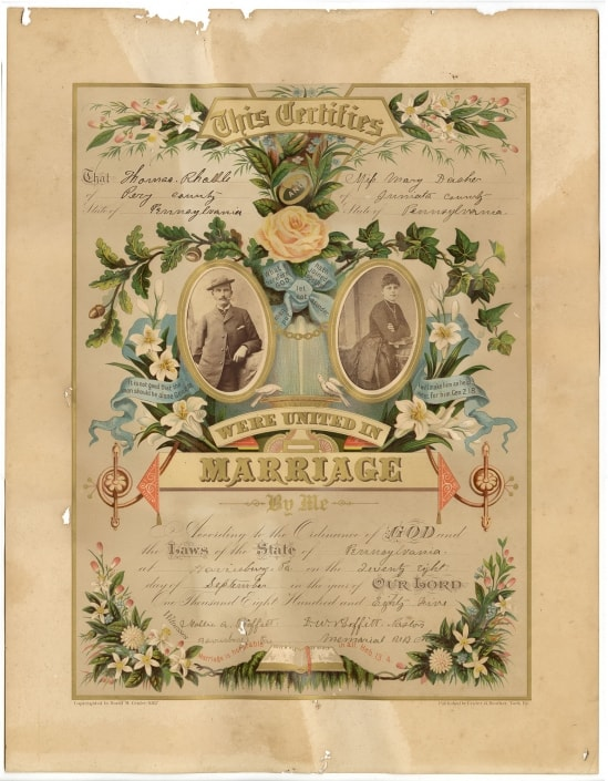 """Printed in color and selling for a dollar wholesale, the """"orange blossom"""" certificate was the preference of the about twenty-five-year-old Thomas Radle (b. 1861) and teen-aged Mary Dasher (b. ca. 1867-1894). Containing their portrait photographs, the certificate documents that D.W. Proffitt (1841-1913) of the United Memorial Brethren Church married the couple in September 1885 in Pittsburgh. Thomas appears in a suit, derby hat, and with a cigarette in his mouth. Mary wears a long-sleeve, dark-colored dress with a bustle. Although used in a marriage certificate, and especially given Radle's pose, the photographs, as with the previous couple, were probably ones the couple already possessed. They had not acquired them for the occasion, although possibly for the certificate. A genealogical record, the certificate's content also provides a trail of evidence for more concrete information about the couple. Mary, likely a domestic servant before her marriage, passed away in 1894. As traced in census and marriage documents, Thomas, a railroad laborer, then farmer, later marries her sister Clara Dasher (1872-1960). He is listed as widowed and she as his housekeeper in the 1900 census. By the summer of 1900, a Pennsylvania marriage license has been issued to the couple. And in the 1910 census, Clara is described as Thomas's wife. Weddings are history-making events for the couple married. In the modern era, they can also be history making in terms of cost. The Crider & Brother prints and ephemera are humble, yet symbolic artifacts of wedding commercialization. They are captivating mementoes of wedding practices of the past, while also perspicacious harbingers of wedding practices of today. Erika Piola Associate Curator, Prints and Photographs and Director, Visual Culture Program Sources: Ancestry.com accessed April 16 and 17, 2018. Crider & Brother, Publishers and Proprietors of the Original Photograph Marriage Certificates, York, Pa. (York, Pa., 1884). George Reeser Prowell, H"""