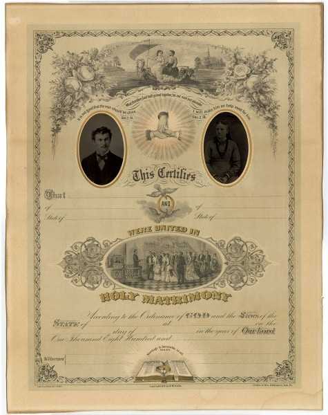 """marriage scene"" marriage certificate/caption: Crider & Brother marriage scene-style photograph marriage certificate (York, Pa.: Crider & Brother, 1877). Completed in manuscript in 1879. Color lithograph"
