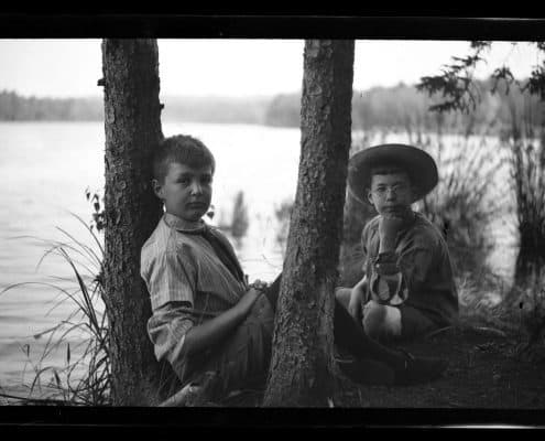 Elliston Perot Morris Jr. and Marriott Canby Morris Jr. on Pocono Lake, 1909. P.2013.13.361.