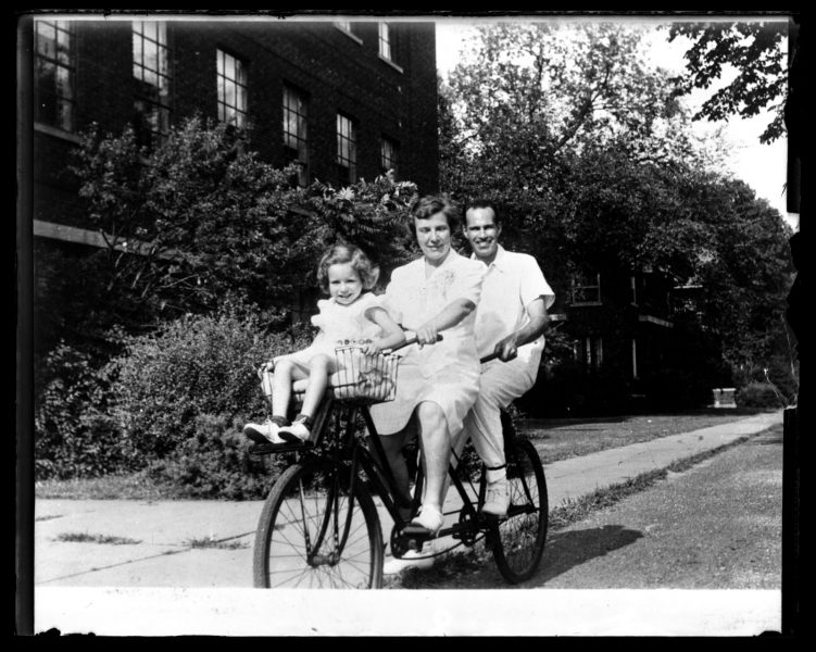 Marriott Canby Morris. [Possibly] M[arriott] C[anby , Jr.], Libby & Ruth on Tandem Bicycle. Madison, Wisconsin, ca. 1900. Glass negative. Marriott C. Morris Collection.