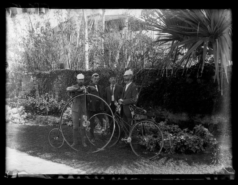 Marriott Canby Morris. Bicycle group in Public Garden, St. George's. A.H. Bull, S. Harry Sargeant, E. Eugene Sargeant & Dr. Buddington. [Bermuda], 1889. Glass negative. Marriott C. Morris Collection.