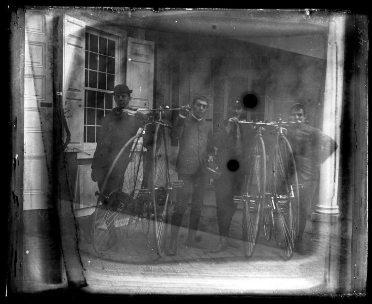 Marriott Canby Morris. Bicycle part. Herbert Morris, H[orace] E[ugene] Smith, J[edidiah] H. Adams & Myself. Taken Before Starting on Ride to Doylestown, Norristown & W. Chester, 1884. Glass negative. Marriott C. Morris Collection.