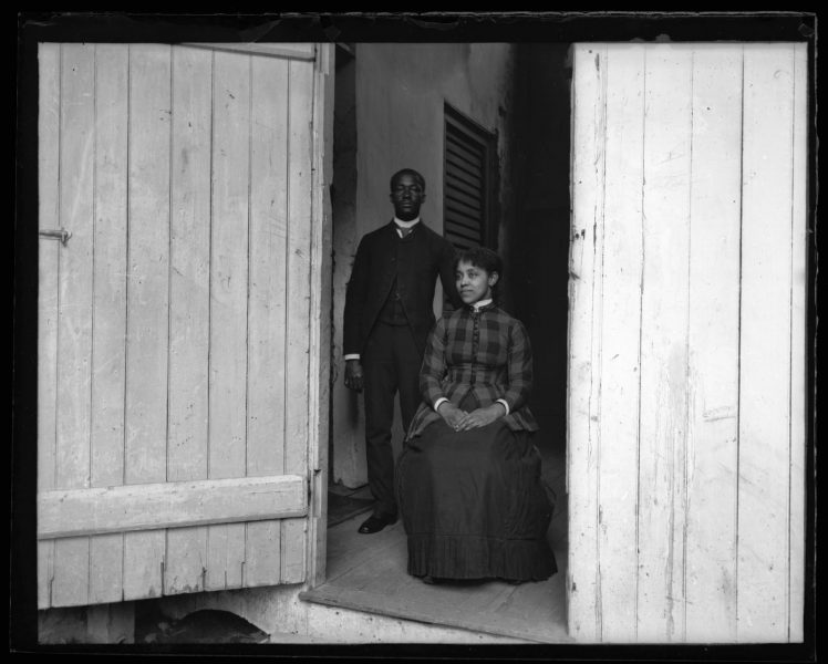 Marriott Canby Morris. David Murray, Our Waiter at Haverford [College] & His Wife at Door of Gym, 1885. Glass negative. Marriott C. Morris Collection.