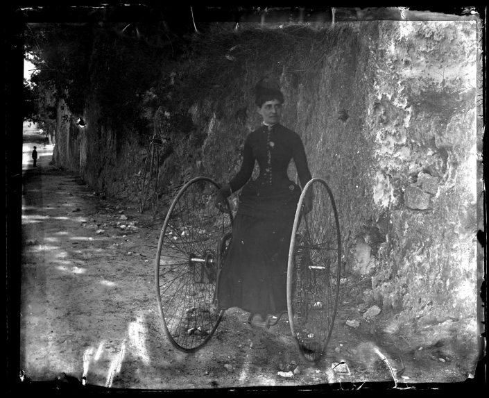 Marriott Canby Morris. Miss Schenkl on a Tricycle, Back of Hamiton H. [Bermuda], 1886. Glass negative. Marriott C. Morris Collection.