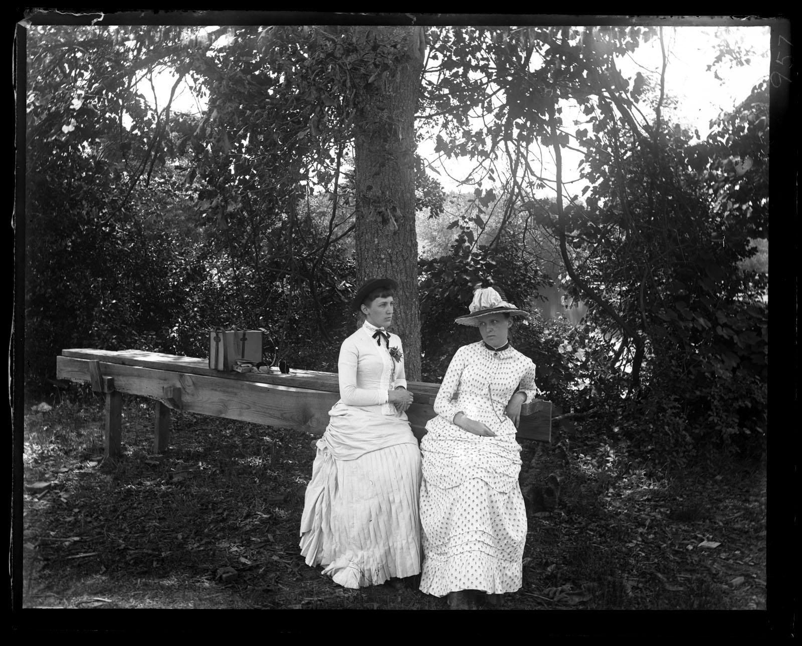 Marriott Canby Morris. Alice Shipley & Bessie in Woods Near Overflow. [Sea Girt, NJ], 1886. Glass negative. Marriott C. Morris Collection. [P.9895.957]